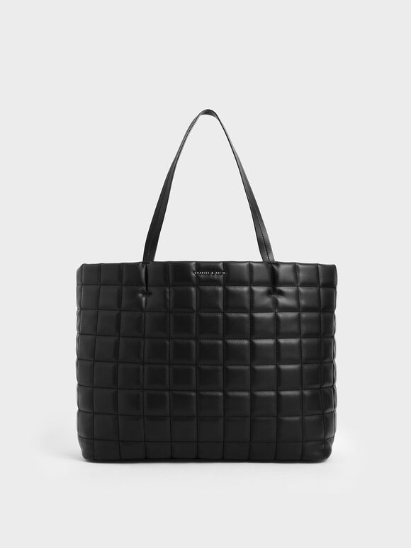 Quilted Large Tote Bag, Black, hi-res