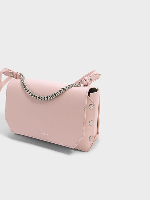 鉚釘鍊條肩背包, 嫩粉色, hi-res