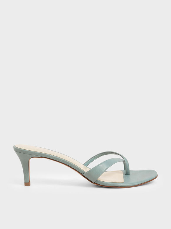 Toe Strap Heeled Sandals, Green, hi-res