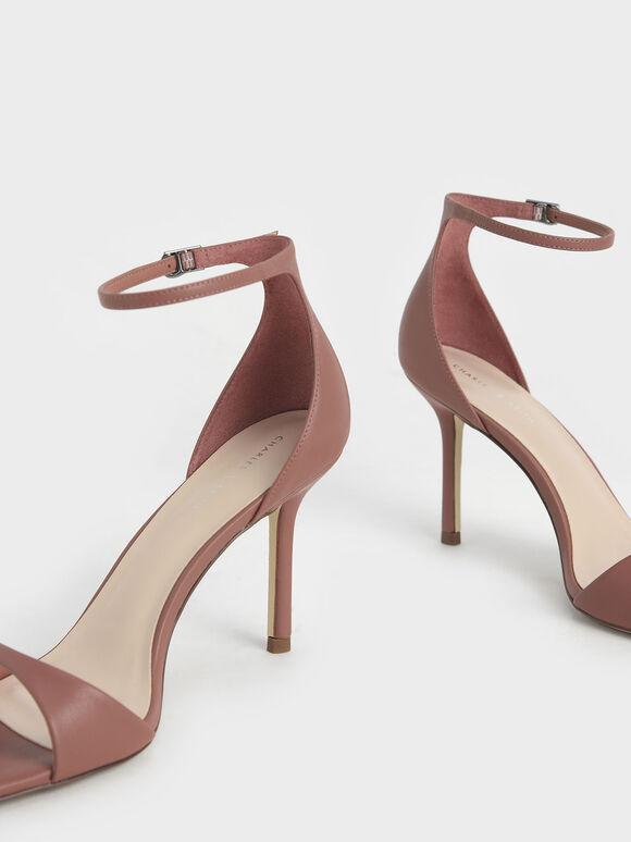 Ankle Strap Heeled Sandals, Brick, hi-res