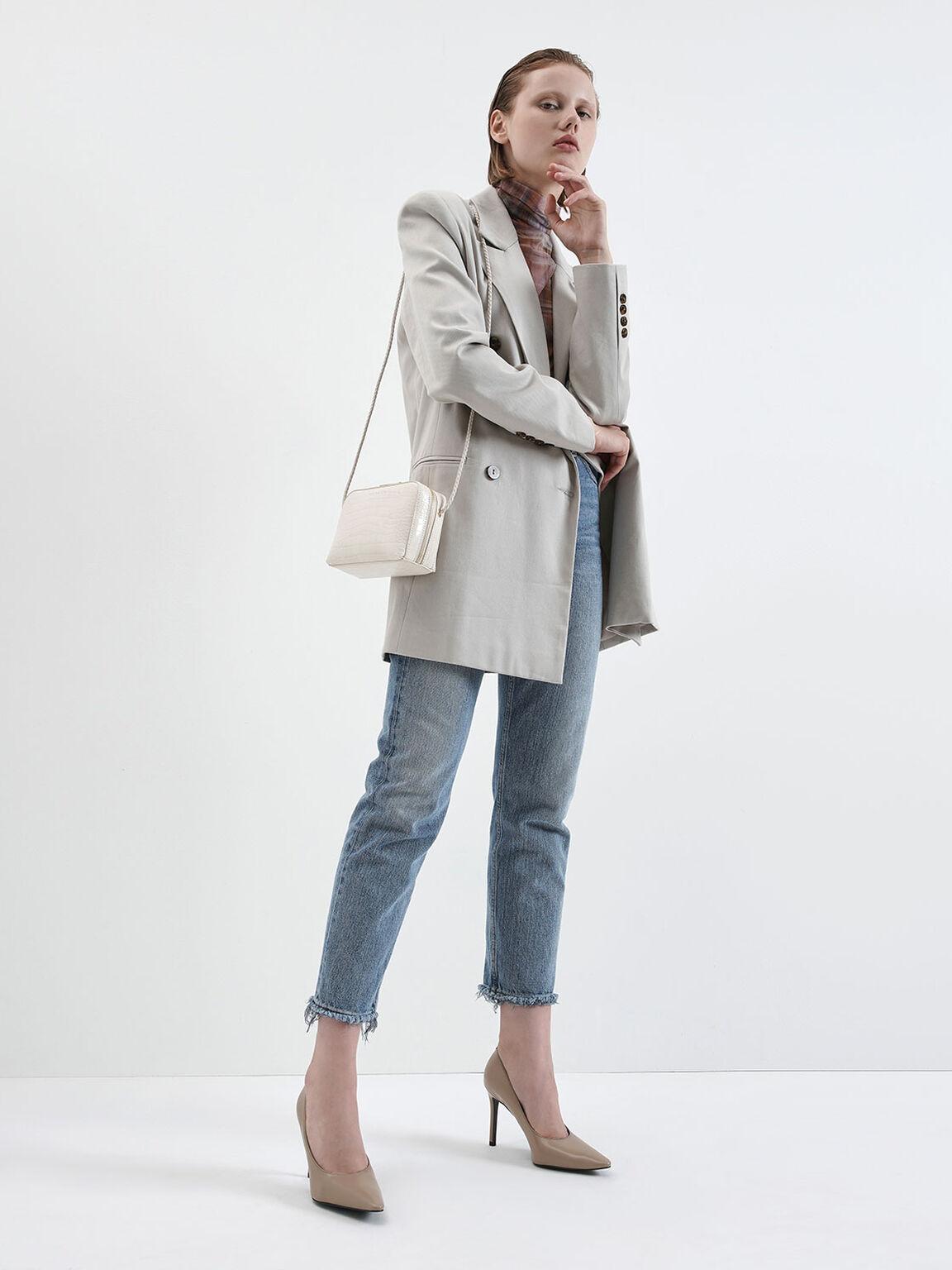 Croc-Effect Mini Rectangular Crossbody Bag, Cream, hi-res