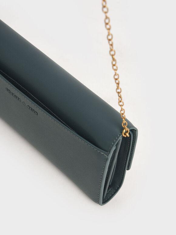 Stone-Embellished Long Wallet, Teal, hi-res