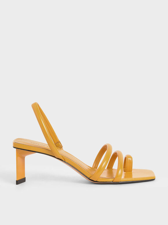Toe Loop Strappy Slingback Heels, Yellow, hi-res