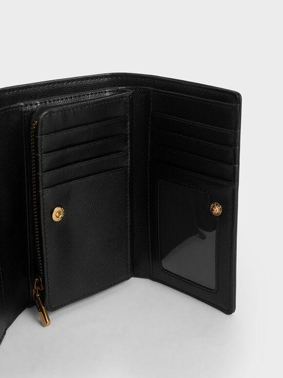 Croc-Effect Metallic Accent Mini Short Wallet, Black, hi-res