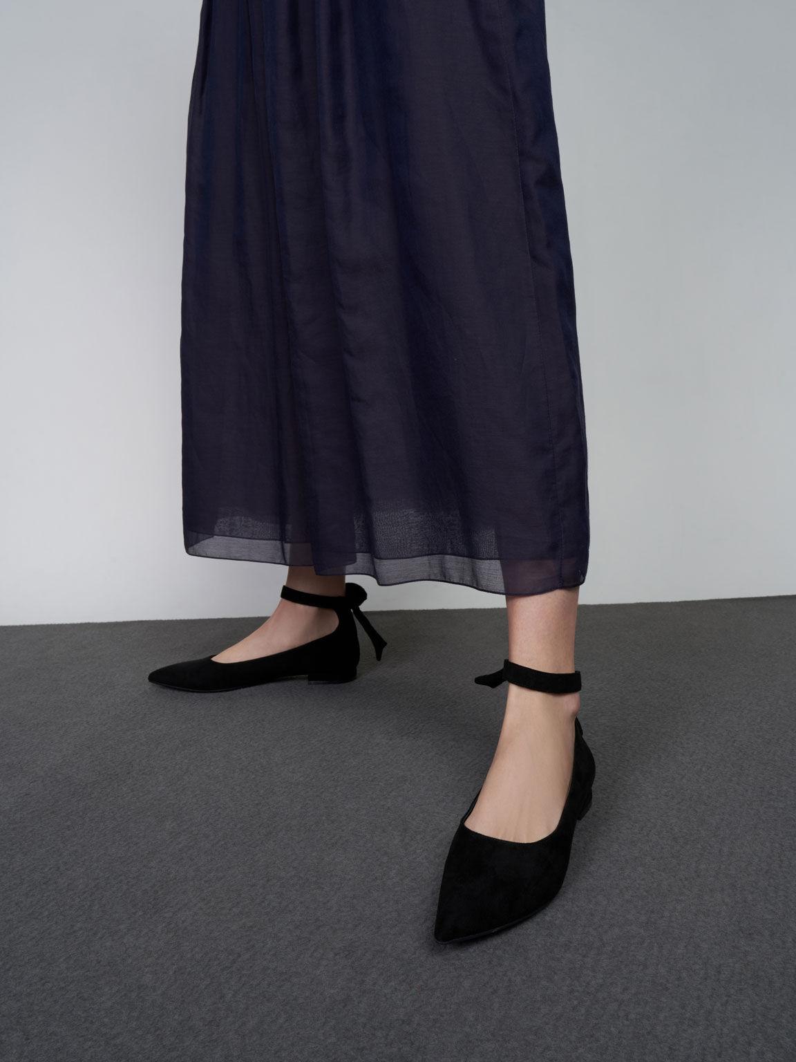 Textured Ankle Strap Ballerina Flats, Black, hi-res