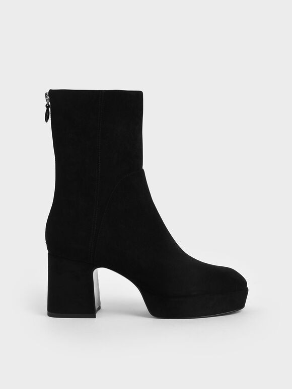 Textured Platform Ankle Boots, Black, hi-res