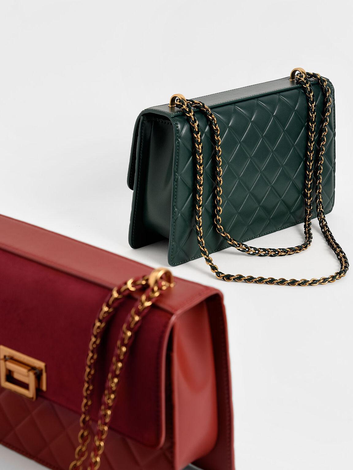 Quilted Shoulder Bag, Green, hi-res