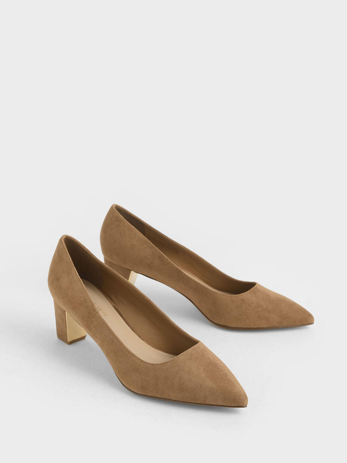 Textured Chunky Heel Pumps, Camel, hi-res