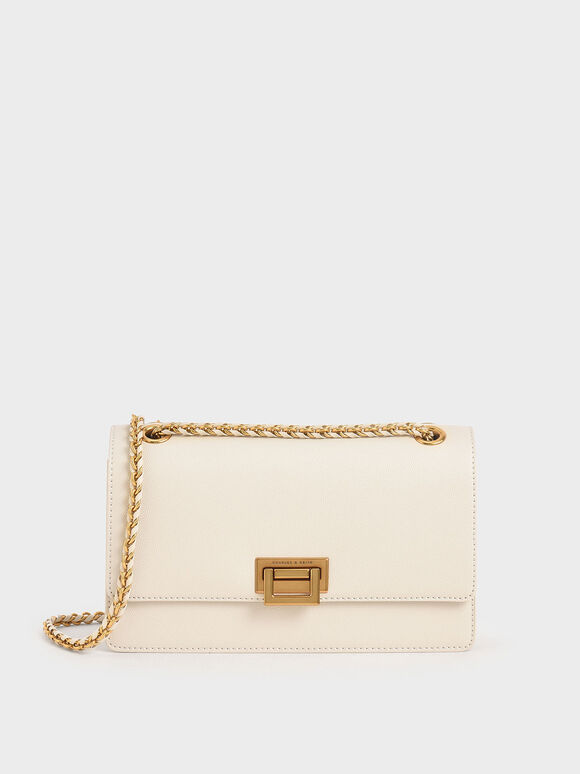 Chain Strap Evening Bag, Cream, hi-res