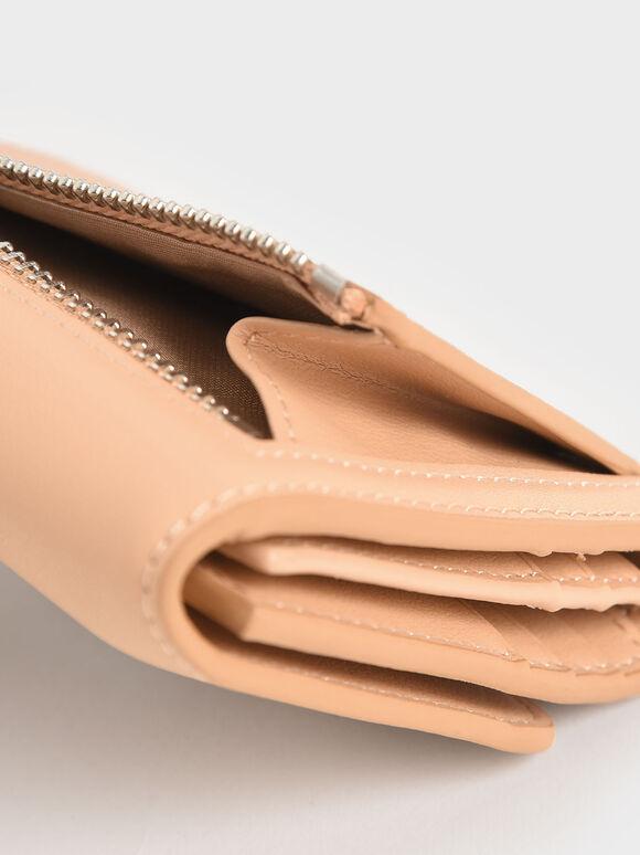 Buckle Strap Short Wallet, Nude, hi-res