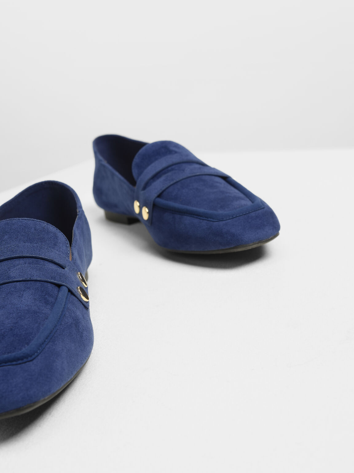 Stud Detail Step Back Penny Loafers, Dark Blue, hi-res