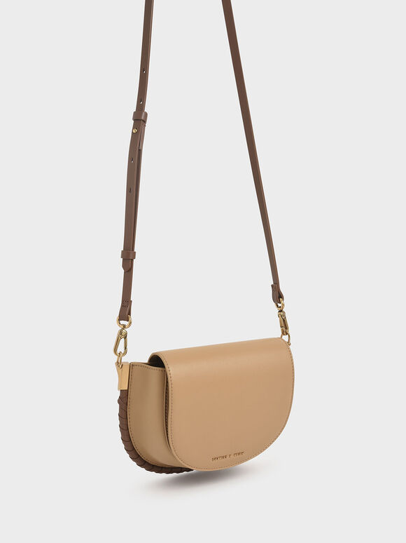 Stitch Trim Saddle Bag, Camel, hi-res