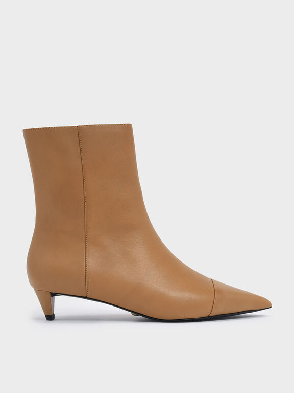 Kitten Cone Heel Leather Ankle Boots, Caramel
