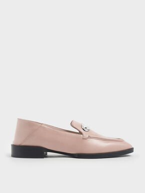 Metal Accent Step Back Penny Loafers, Nude, hi-res