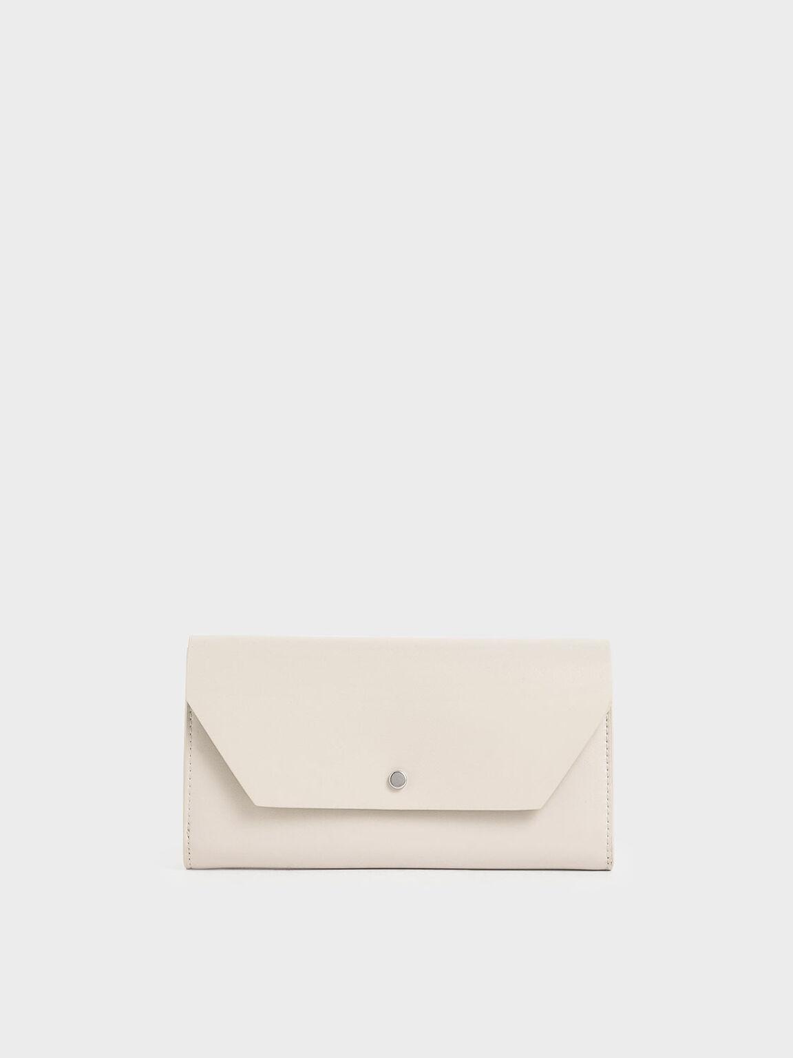 Reversible Front Flap Mini Long Wallet, Cream, hi-res