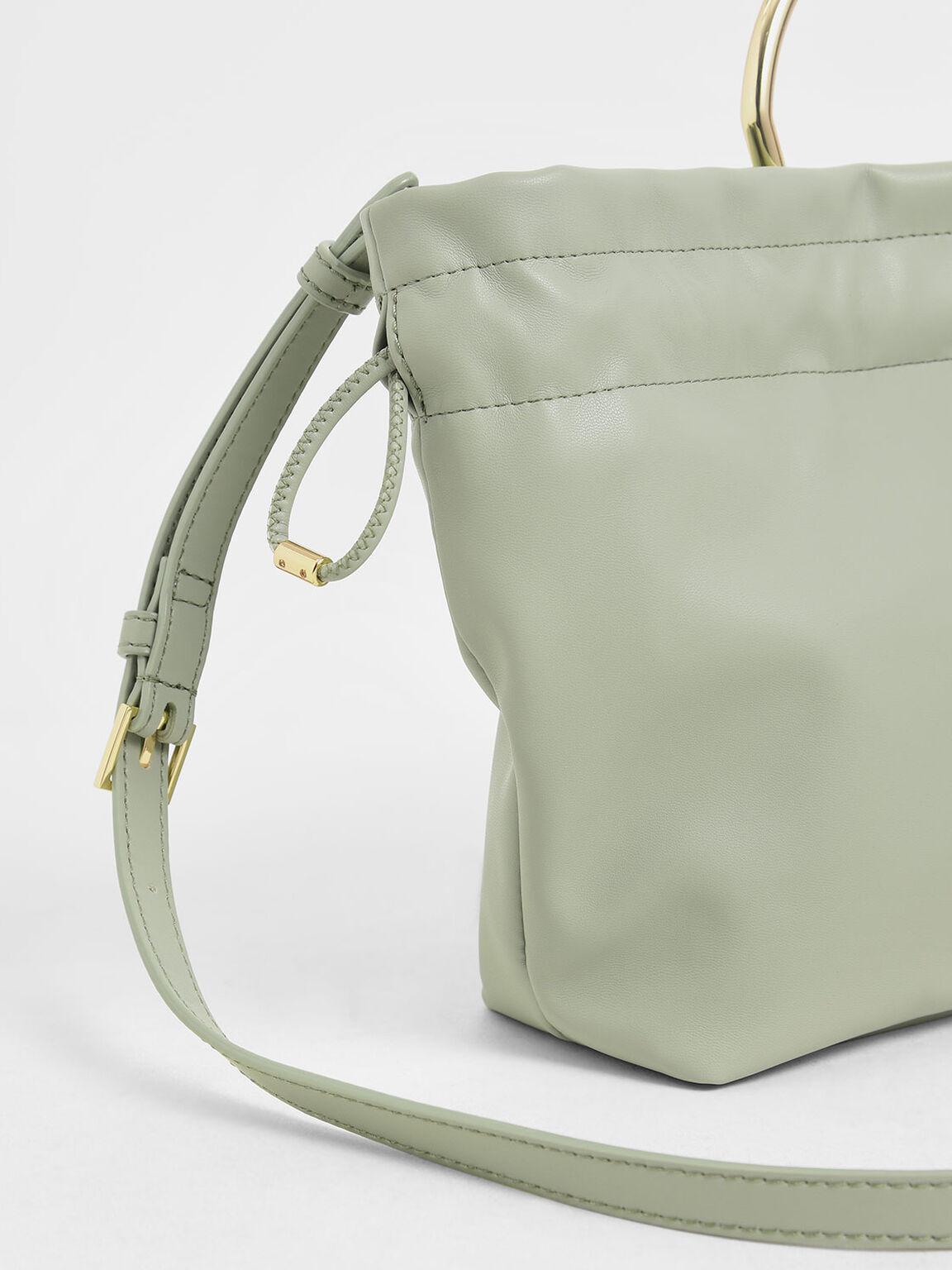 Mini Sculptural Top Handle Drawstring Bucket Bag, Green, hi-res