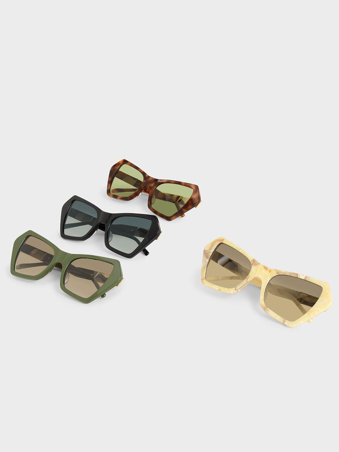 幾何粗框墨鏡, 奶油色, hi-res