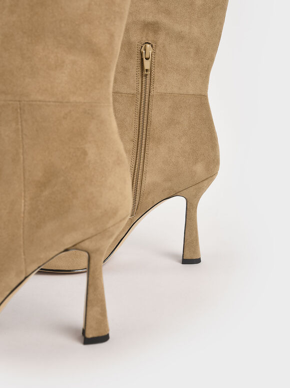 經典素面長靴, 駝色, hi-res