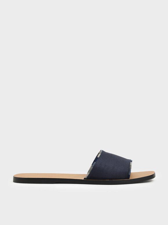 Two-Tone Thread Trim Textured Slide Sandals, Dark Blue, hi-res