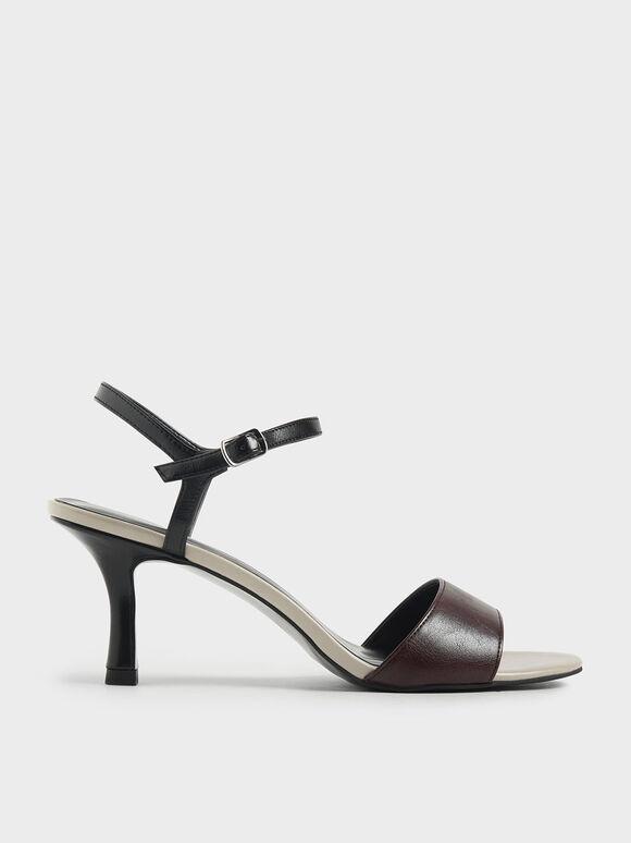 Two-Tone Sculptural Heel Open Toe Sandals, Multi, hi-res