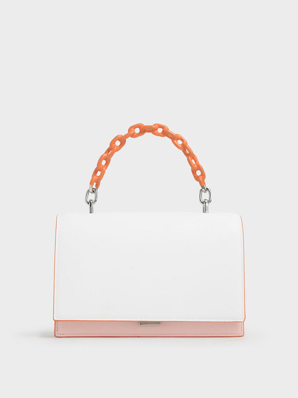Two-Tone Chain Top Handle Bag, Light Pink, hi-res