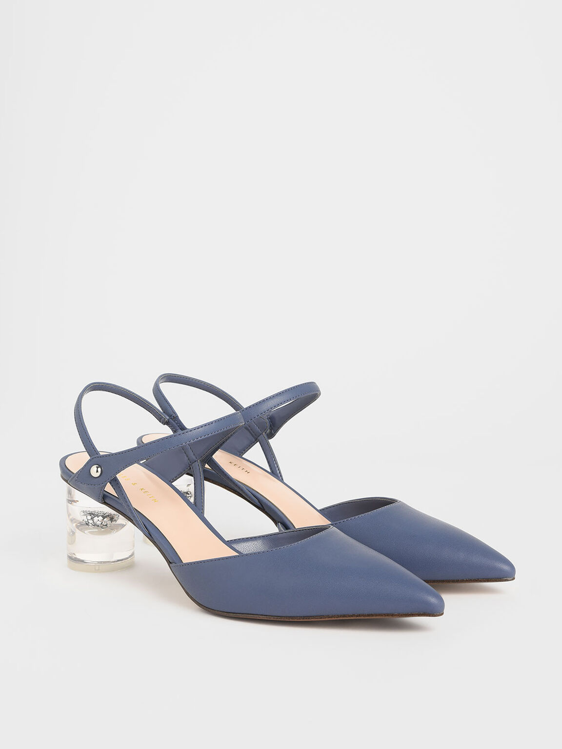 Pointed Toe Lucite Heel Cylindrical Pumps, Blue, hi-res