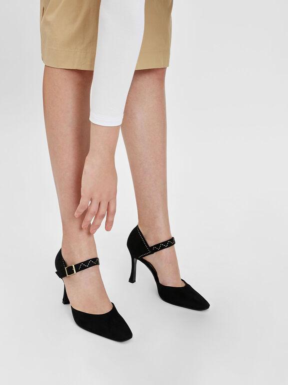 Embellished Sculptural Heel Mary Janes, Black