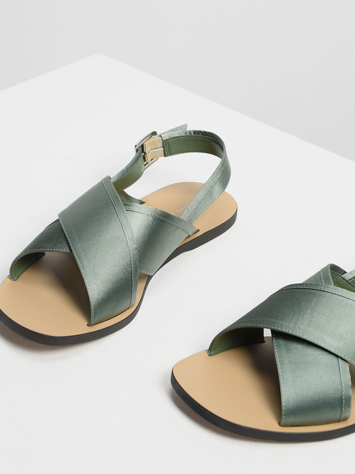 Satin Criss Cross Sandals, Green, hi-res