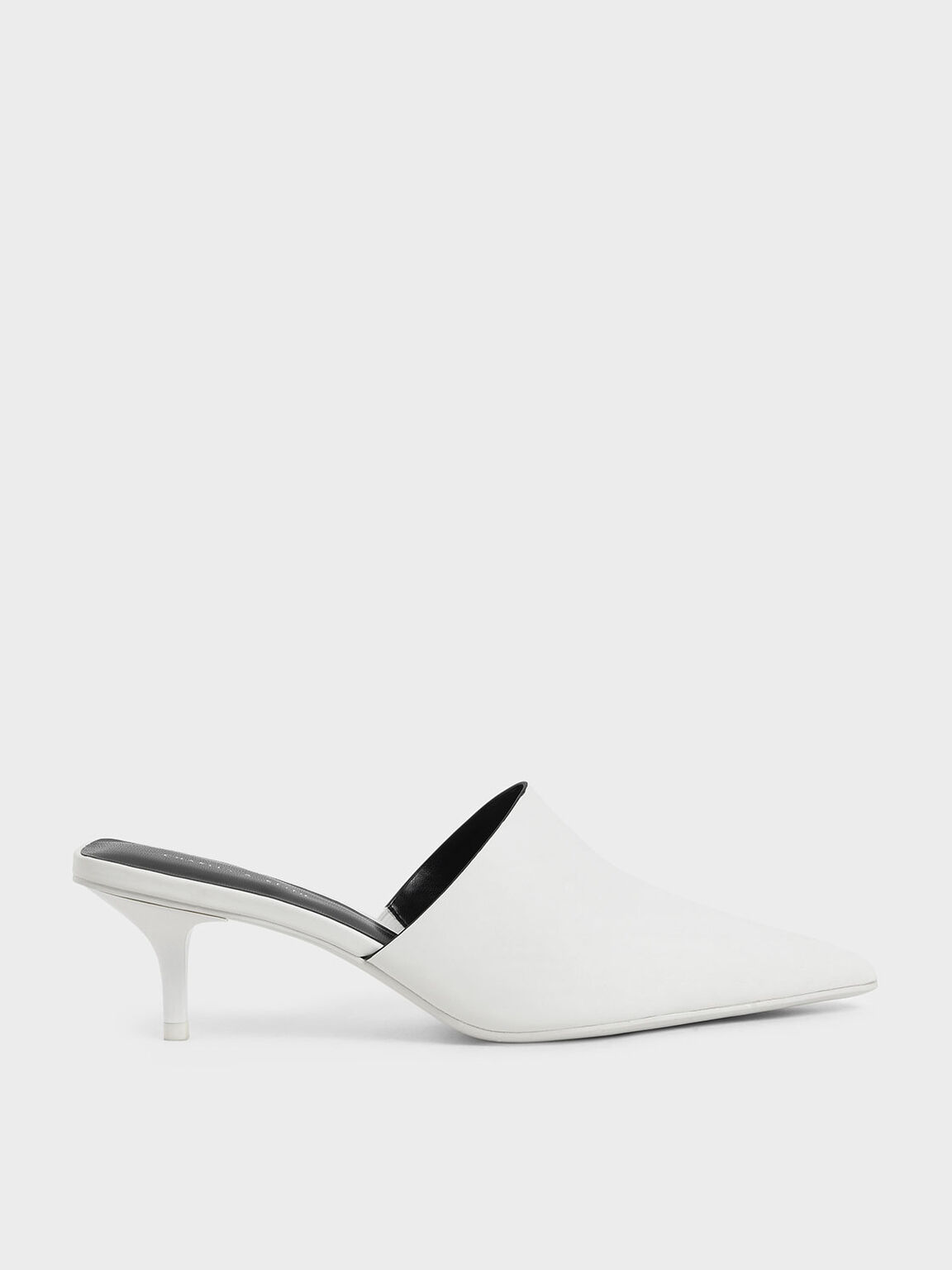 Pointed Toe Mules, White, hi-res