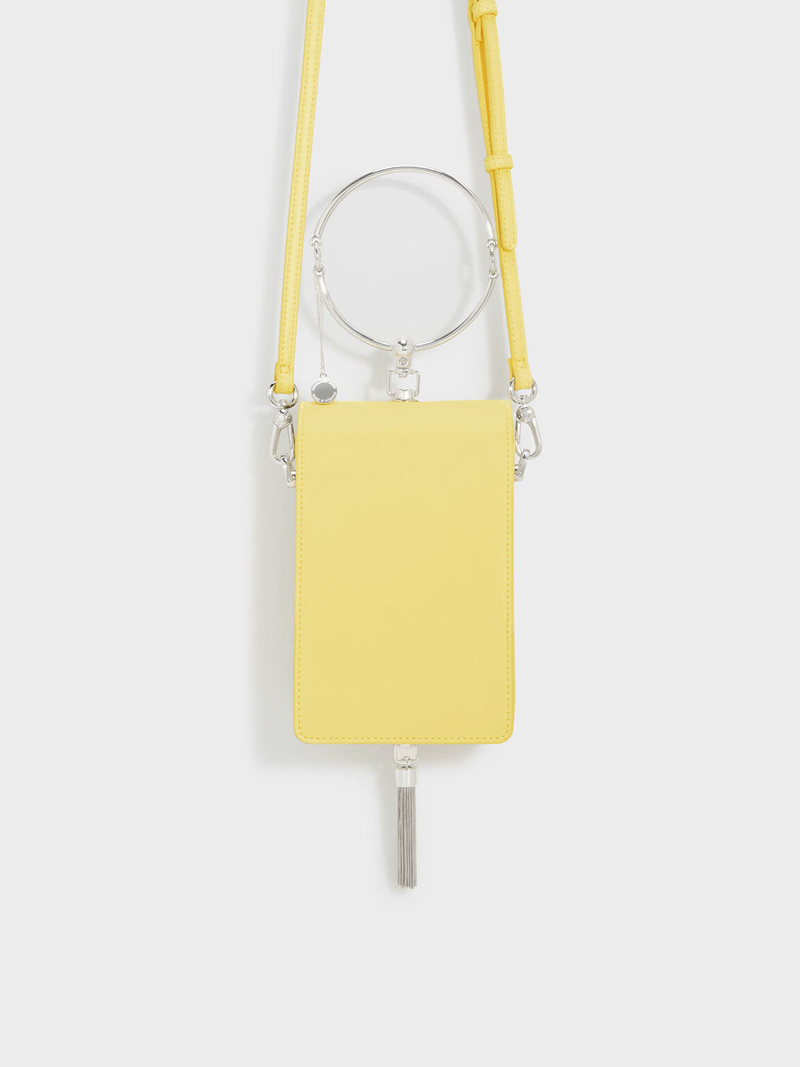Circular Handle Clutch, Yellow, hi-res