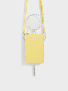Circular Handle Clutch, Yellow