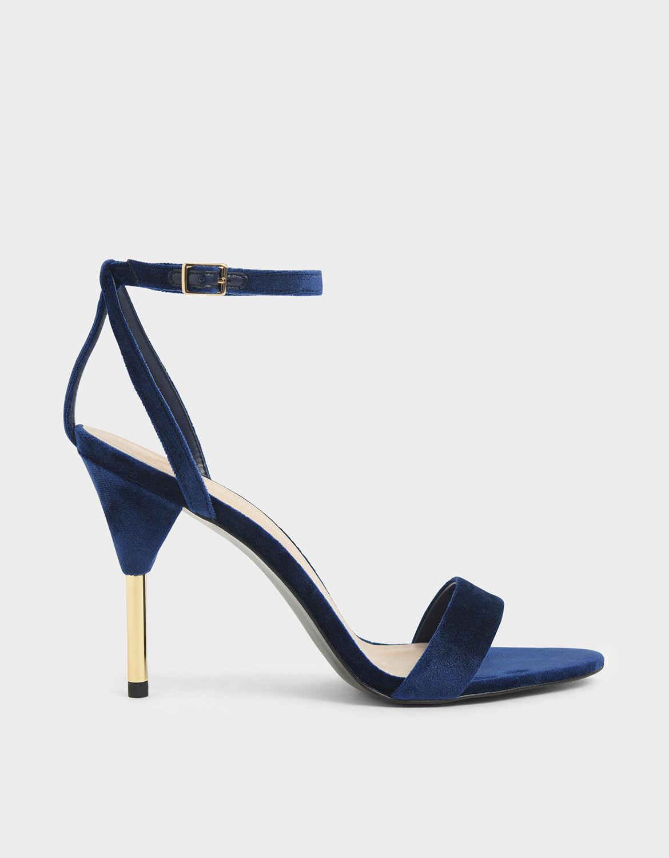 Dark Blue Velvet Stiletto Heels