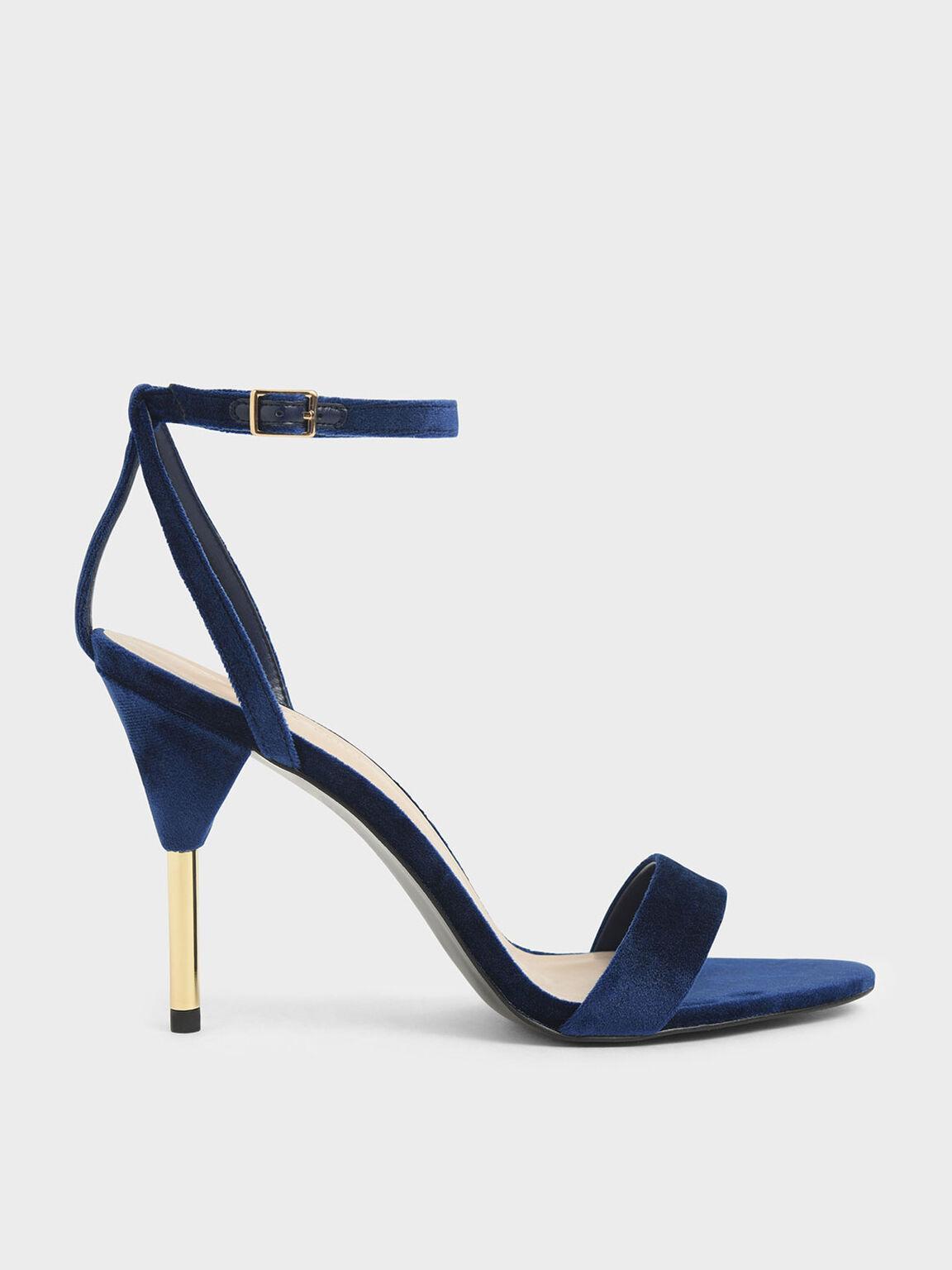 Velvet Stiletto Heels, Dark Blue, hi-res