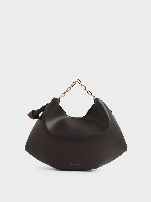 Large Chain Handle Hobo Bag, Dark Brown, hi-res