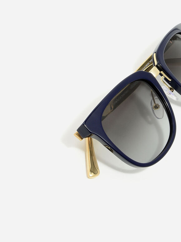 Acetate Frame Wayfarer Sunglasses, Navy, hi-res