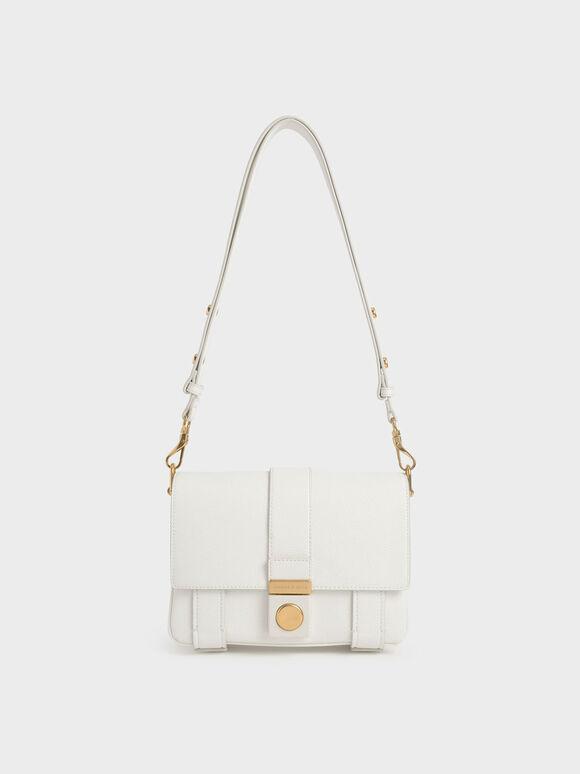 Metallic Push-Lock Shoulder Bag, White, hi-res