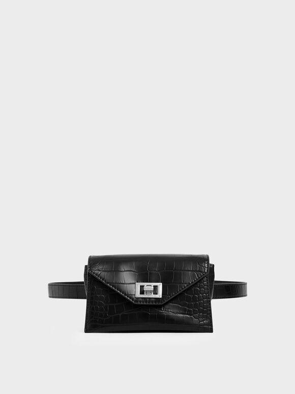 Croc-Effect Turn Lock Belt Bag, Black Textured, hi-res