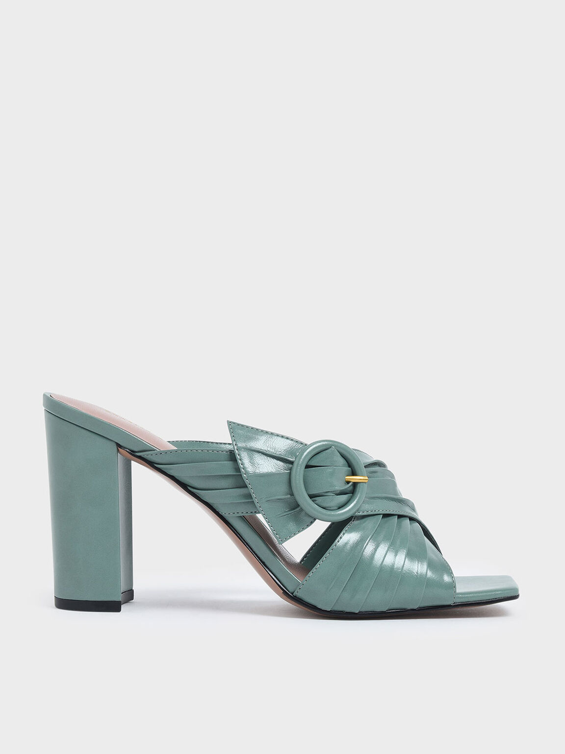 Criss Cross Pleated Buckle Strap Heeled Slide Sandals, Green, hi-res