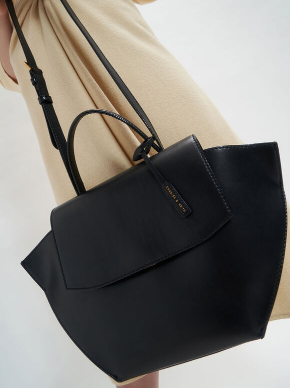 Geometric Top Handle Bag, Black, hi-res