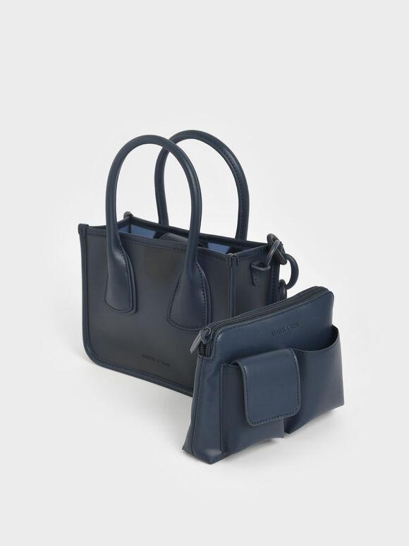 Chain Link Double Handle Bag, Navy, hi-res