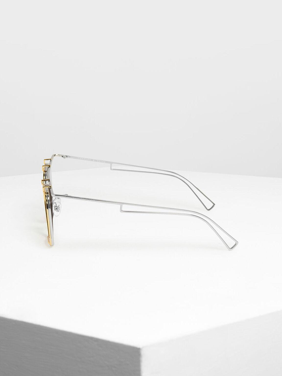 金屬框飛行員墨鏡, 銀色, hi-res