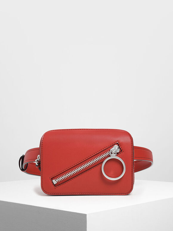 Ring Zip Pocket Two-Way Belt Bag, Red, hi-res