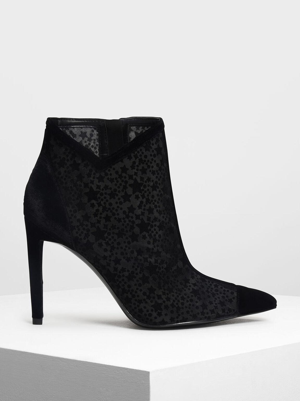 Velvet Flocking Ankle Boots, Black, hi-res