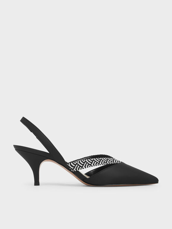 Woven Band Slingback Pumps, Black, hi-res
