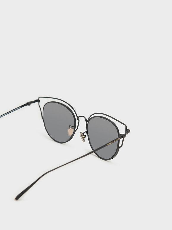 더블 프레임 윙팁 선글라스, 블랙, hi-res