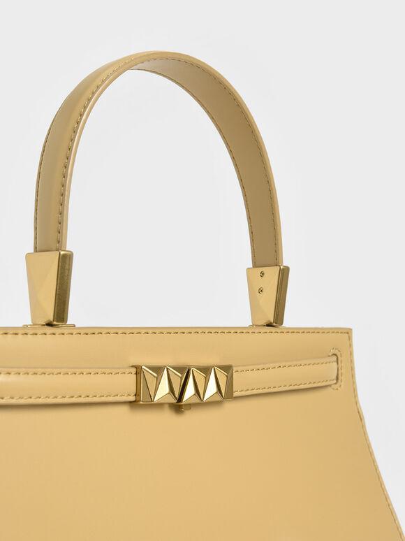 Metallic Push-Lock Trapeze Bag, Yellow, hi-res