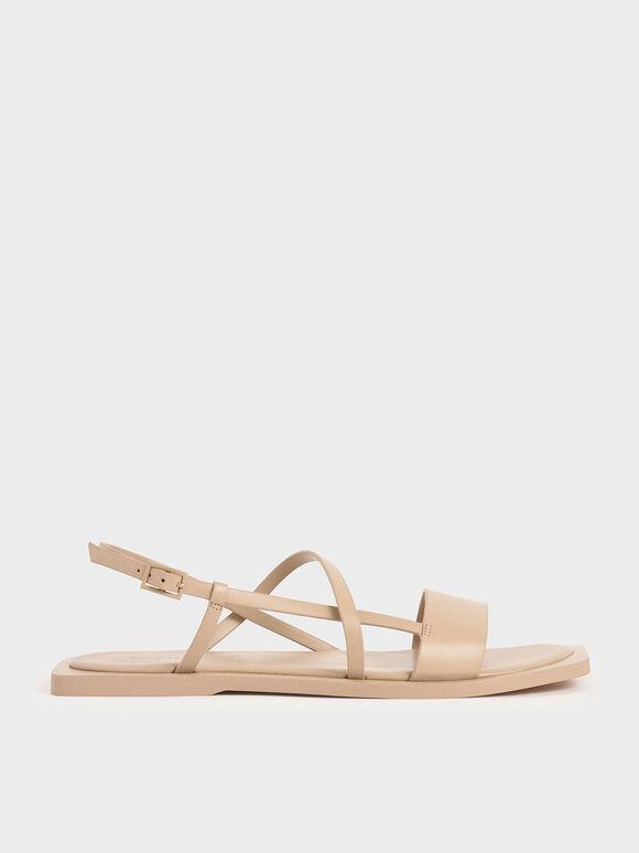 Asymmetric Strap Slingback Sandals, Beige, hi-res