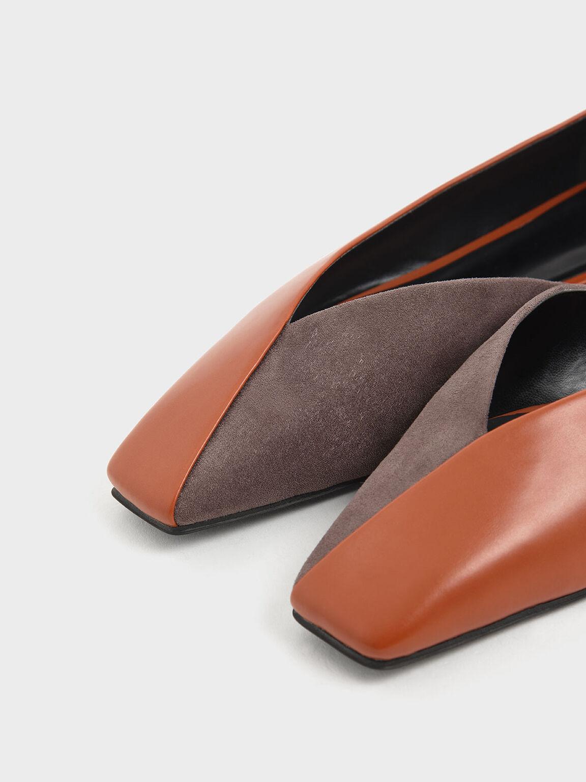 Two-Tone Textured D'Orsay Flats, Brick, hi-res