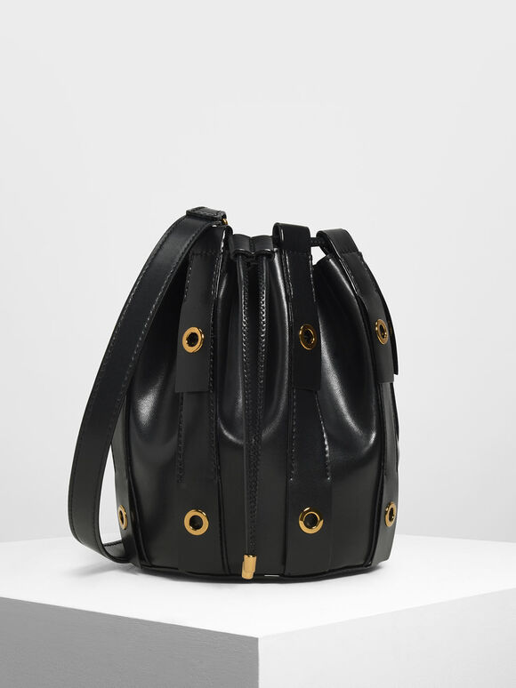 Fringe Bucket Bag, Black, hi-res