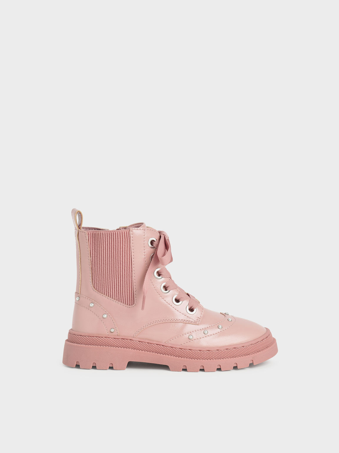 Girls' Patent Studded Lace-Up Ankle Boots, Pink, hi-res